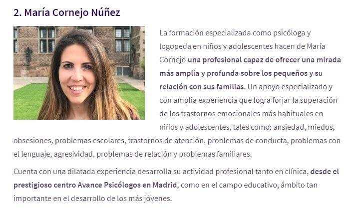 Maria Cornejo terapia infantill