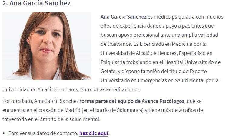 Ana García mejores psiquiatras España
